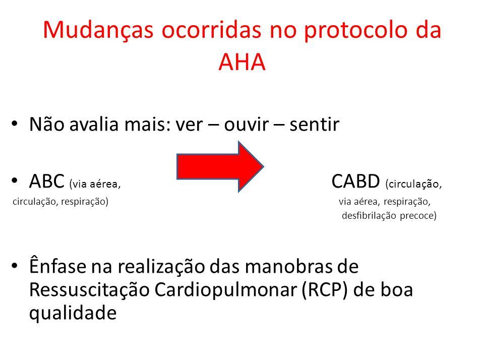 Mudanças ocorridas no protocolo da AHA Não avalia mais: ver – ouvir – sentir ABC (via aérea, CABD (circulação, circulação, respiração) via aérea, resp