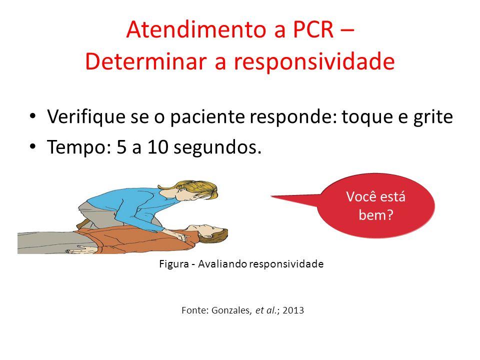 Atendimento a PCR – Determinar a responsividade Verifique se o paciente responde: toque e grite Tempo: 5 a 10 segundos. Você está bem? Fonte: Gonzales