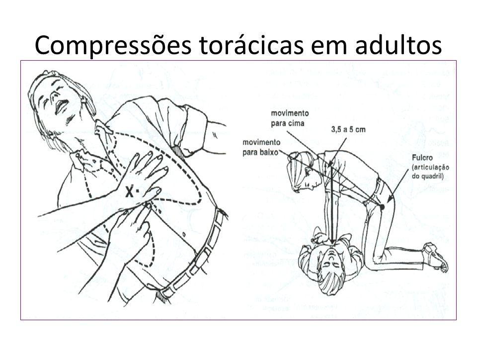 Compressões torácicas em adultos Ritmo de 100/min; Compressão de 5 cm;