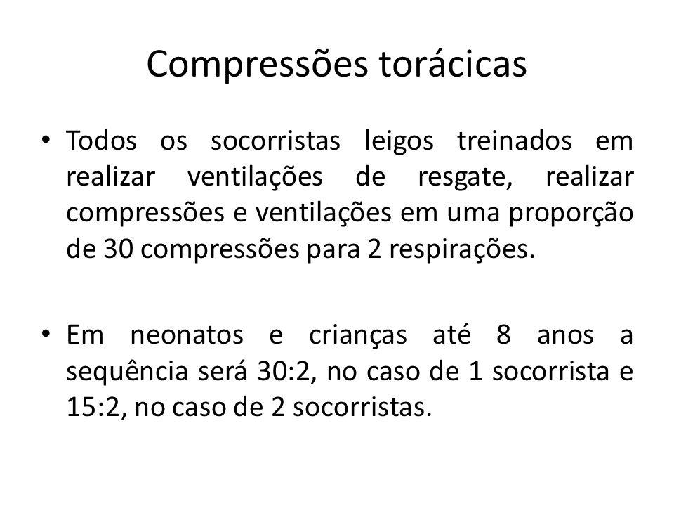 Compressões torácicas Todos os socorristas leigos treinados em realizar ventilações de resgate, realizar compressões e ventilações em uma proporção de