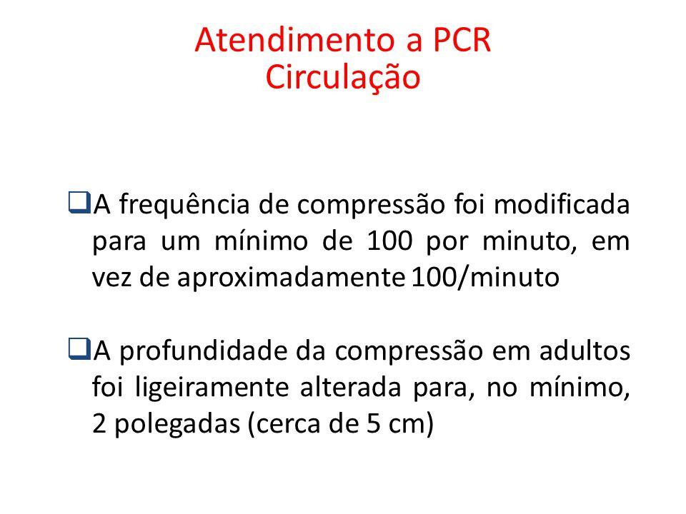  A frequência de compressão foi modificada para um mínimo de 100 por minuto, em vez de aproximadamente 100/minuto  A profundidade da compressão em a