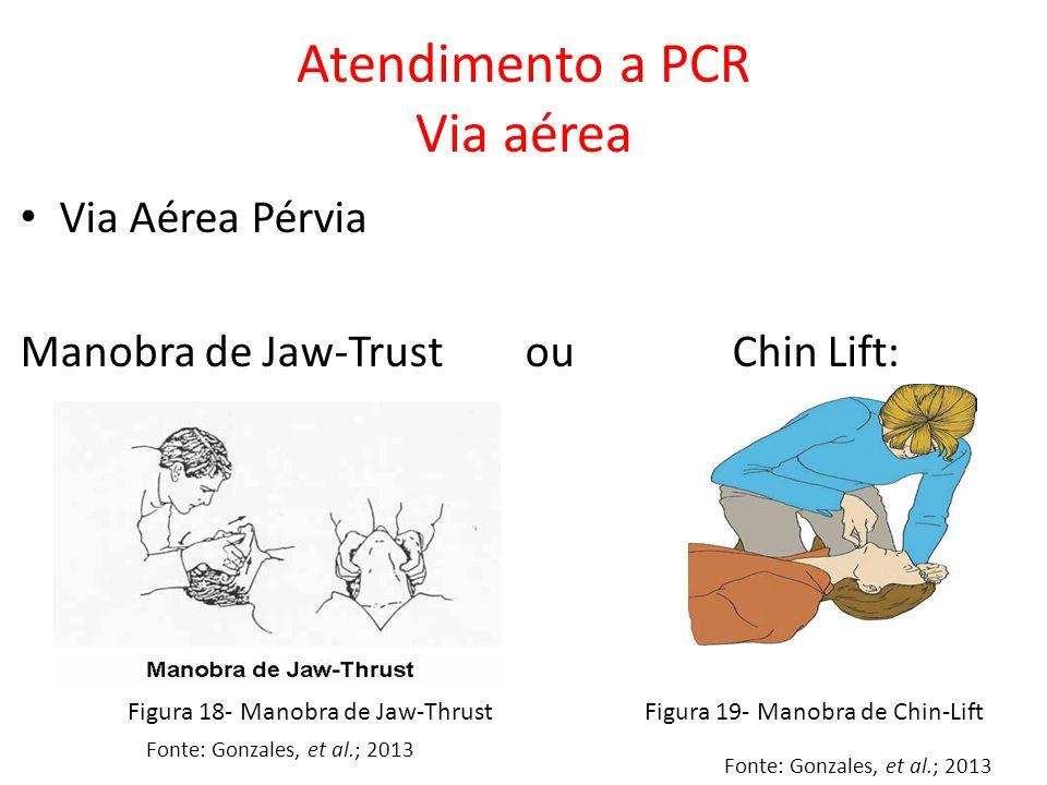Via Aérea Pérvia Manobra de Jaw-Trust ou Chin Lift: Atendimento a PCR Via aérea Fonte: Gonzales, et al.; 2013 Figura 18- Manobra de Jaw-ThrustFigura 1