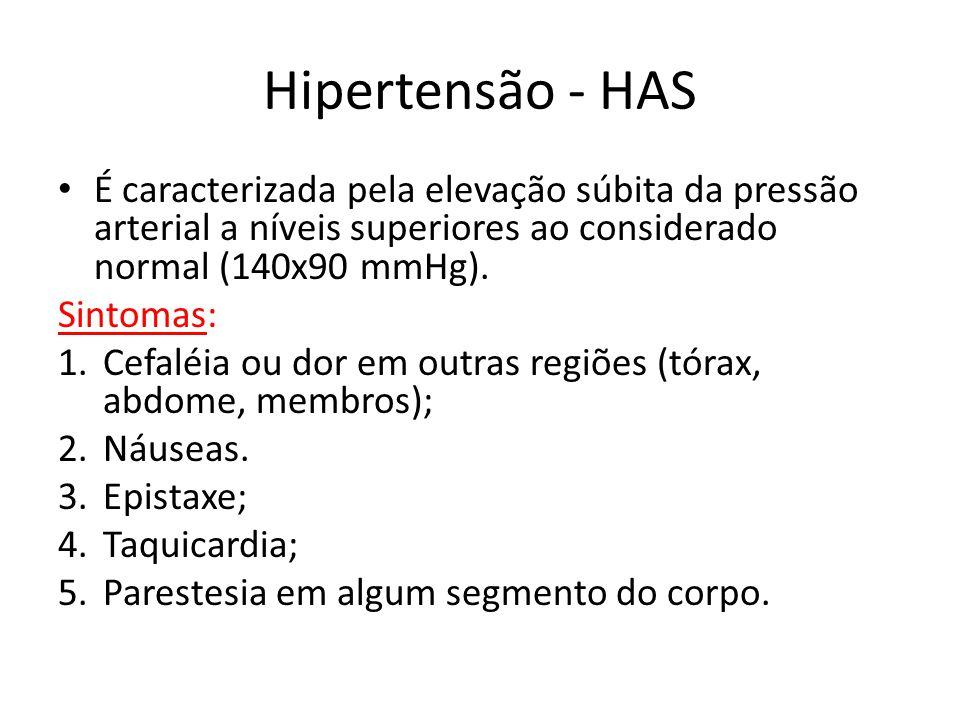 Hipertensão - HAS É caracterizada pela elevação súbita da pressão arterial a níveis superiores ao considerado normal (140x90 mmHg). Sintomas: 1.Cefalé