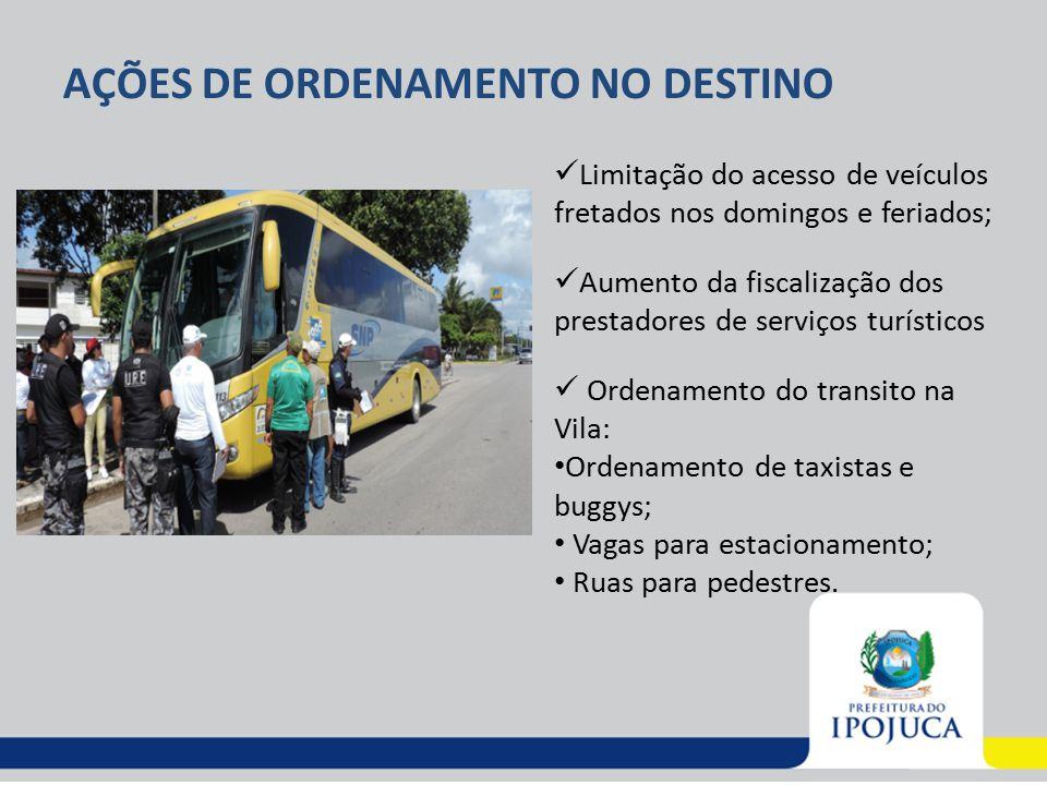 AÇÕES DE ORDENAMENTO NO DESTINO Limitação do acesso de veículos fretados nos domingos e feriados; Aumento da fiscalização dos prestadores de serviços