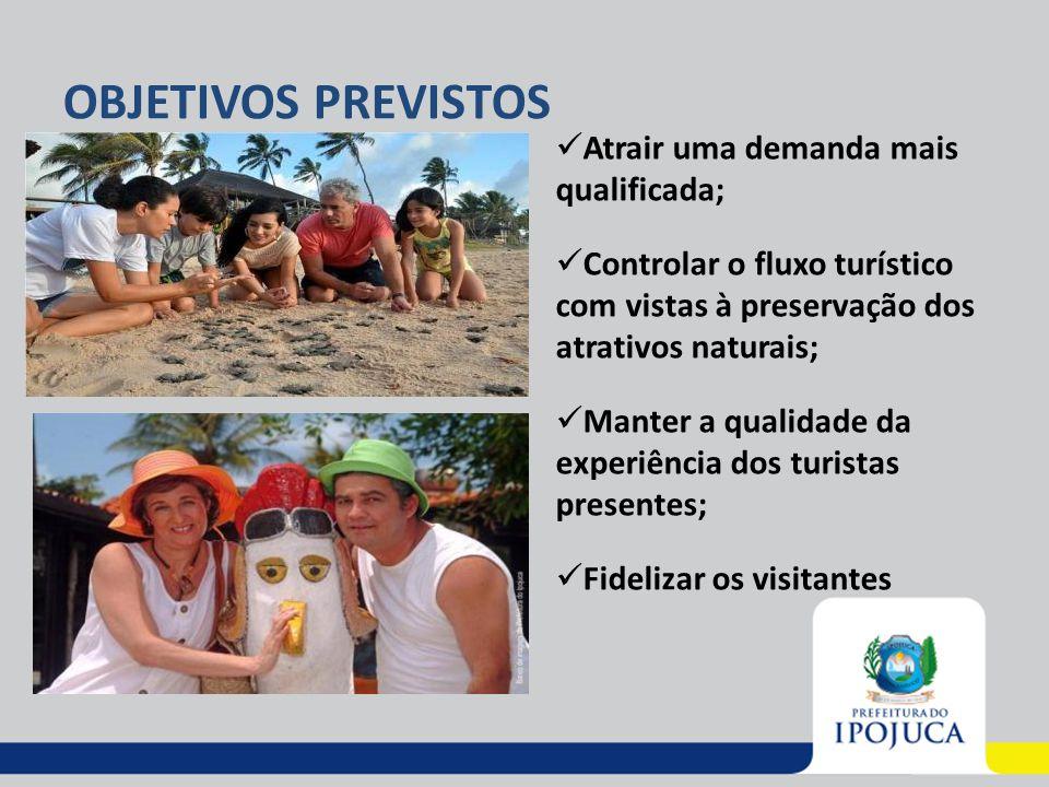 OBJETIVOS PREVISTOS Atrair uma demanda mais qualificada; Controlar o fluxo turístico com vistas à preservação dos atrativos naturais; Manter a qualida