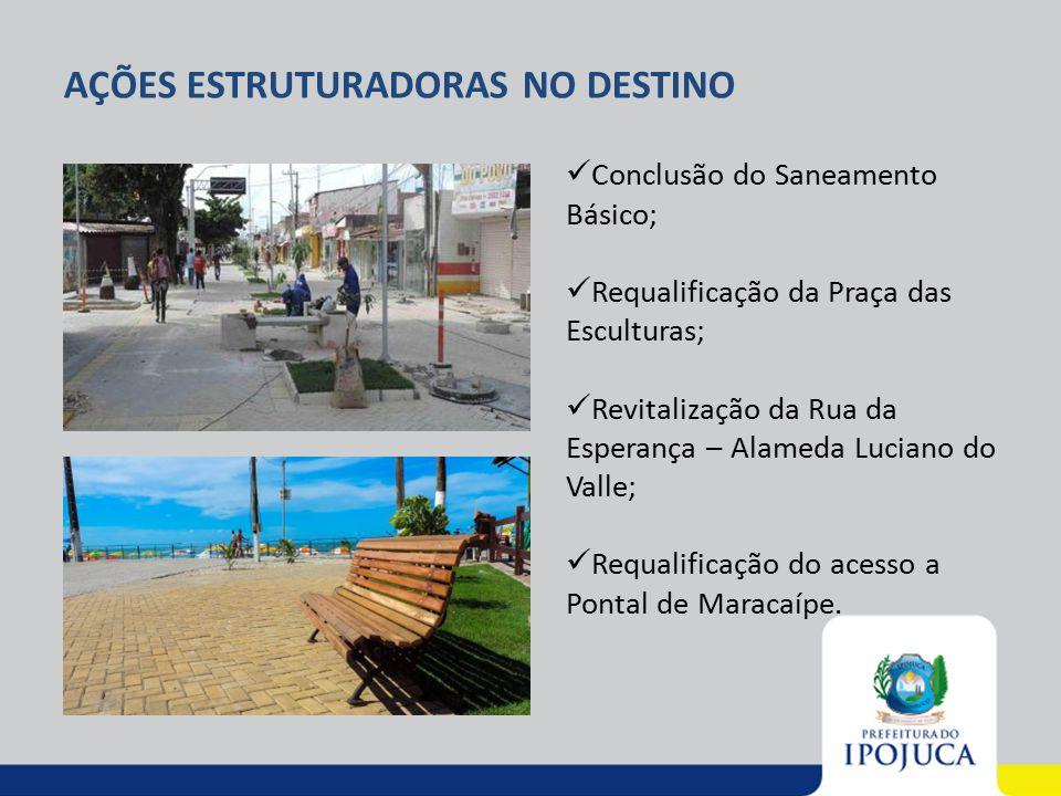 AÇÕES ESTRUTURADORAS NO DESTINO Conclusão do Saneamento Básico; Requalificação da Praça das Esculturas; Revitalização da Rua da Esperança – Alameda Lu