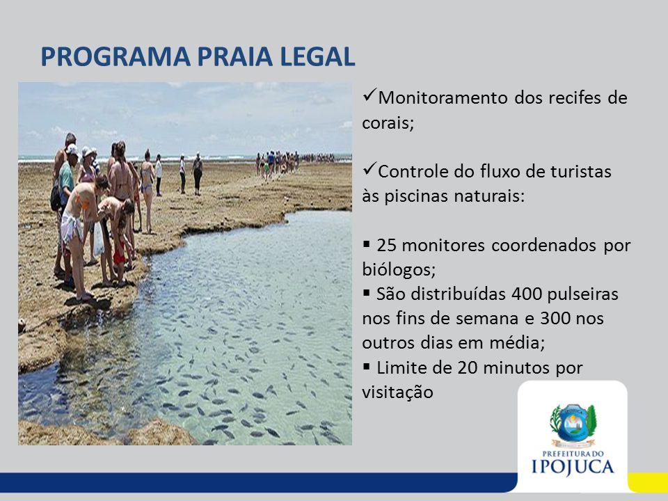 PROGRAMA PRAIA LEGAL Monitoramento dos recifes de corais; Controle do fluxo de turistas às piscinas naturais:  25 monitores coordenados por biólogos;