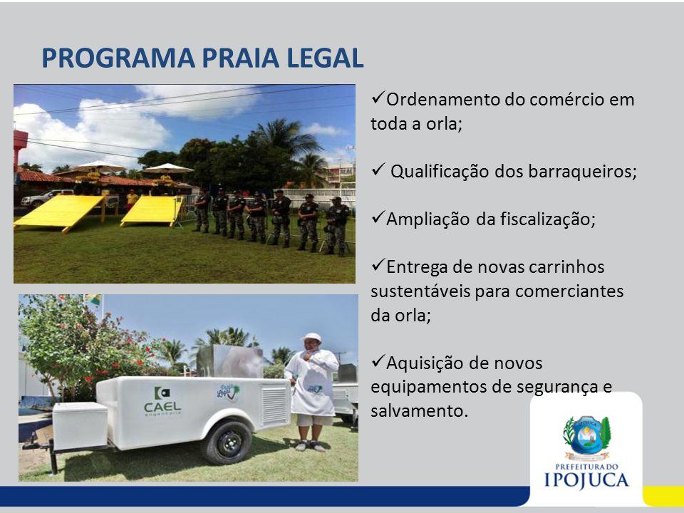 PROGRAMA PRAIA LEGAL Ordenamento do comércio em toda a orla; Qualificação dos barraqueiros; Ampliação da fiscalização; Entrega de novas carrinhos sust