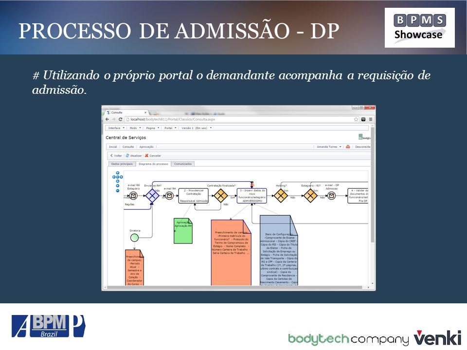 # Utilizando o próprio portal o demandante acompanha a requisição de admissão. PROCESSO DE ADMISSÃO - DP