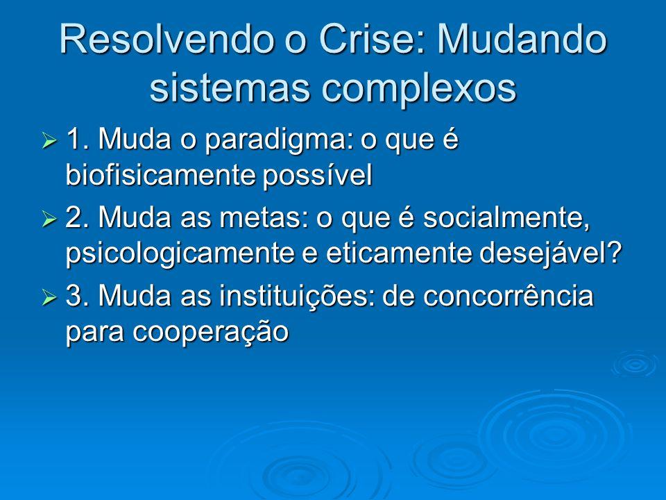 Resolvendo o Crise: Mudando sistemas complexos  1. Muda o paradigma: o que é biofisicamente possível  2. Muda as metas: o que é socialmente, psicolo