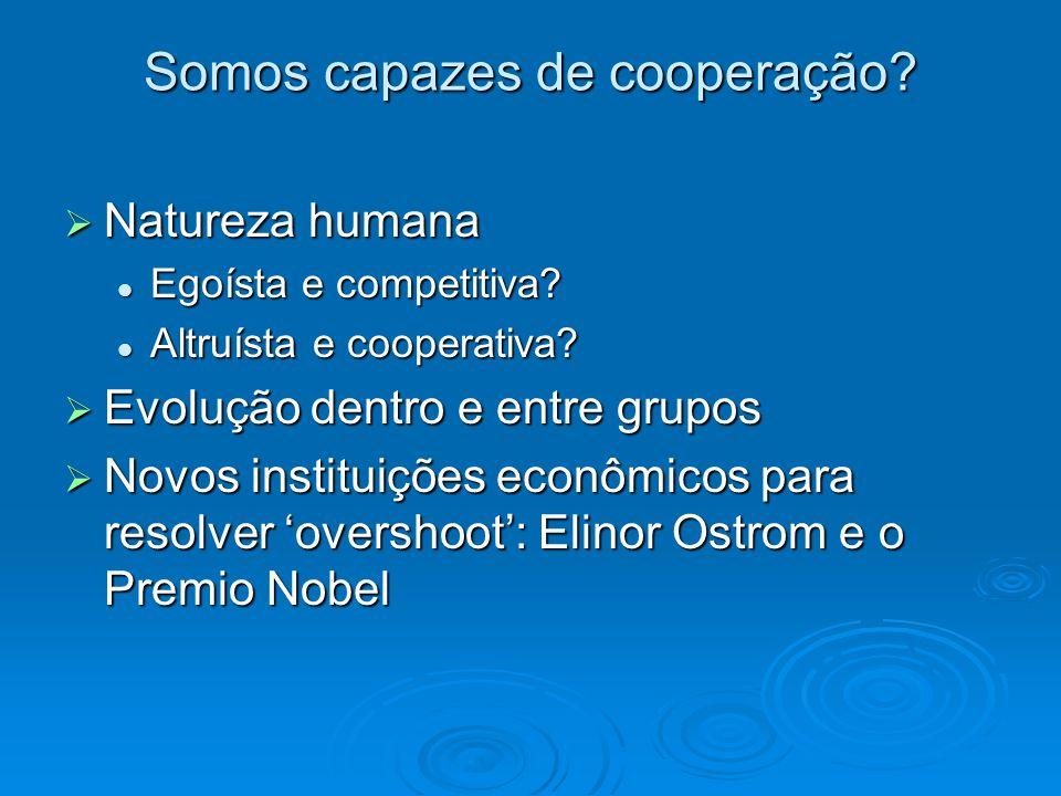 Somos capazes de cooperação?  Natureza humana Egoísta e competitiva? Egoísta e competitiva? Altruísta e cooperativa? Altruísta e cooperativa?  Evolu