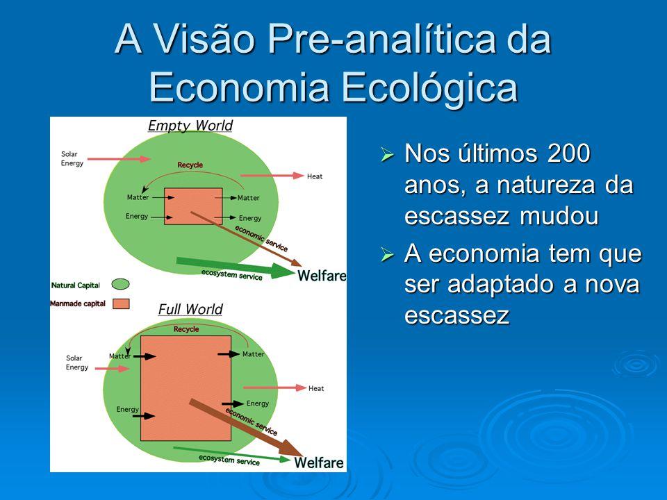 A Visão Pre-analítica da Economia Ecológica  Nos últimos 200 anos, a natureza da escassez mudou  A economia tem que ser adaptado a nova escassez