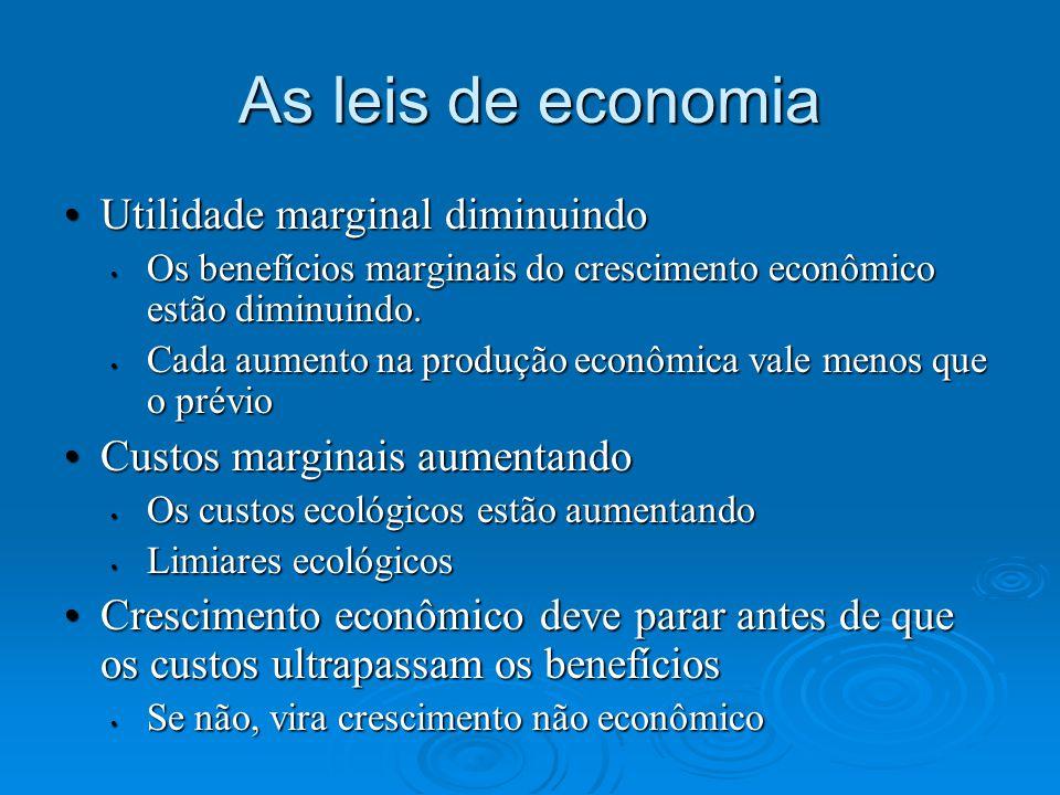 As leis de economia Utilidade marginal diminuindoUtilidade marginal diminuindo Os benefícios marginais do crescimento econômico estão diminuindo. Os b