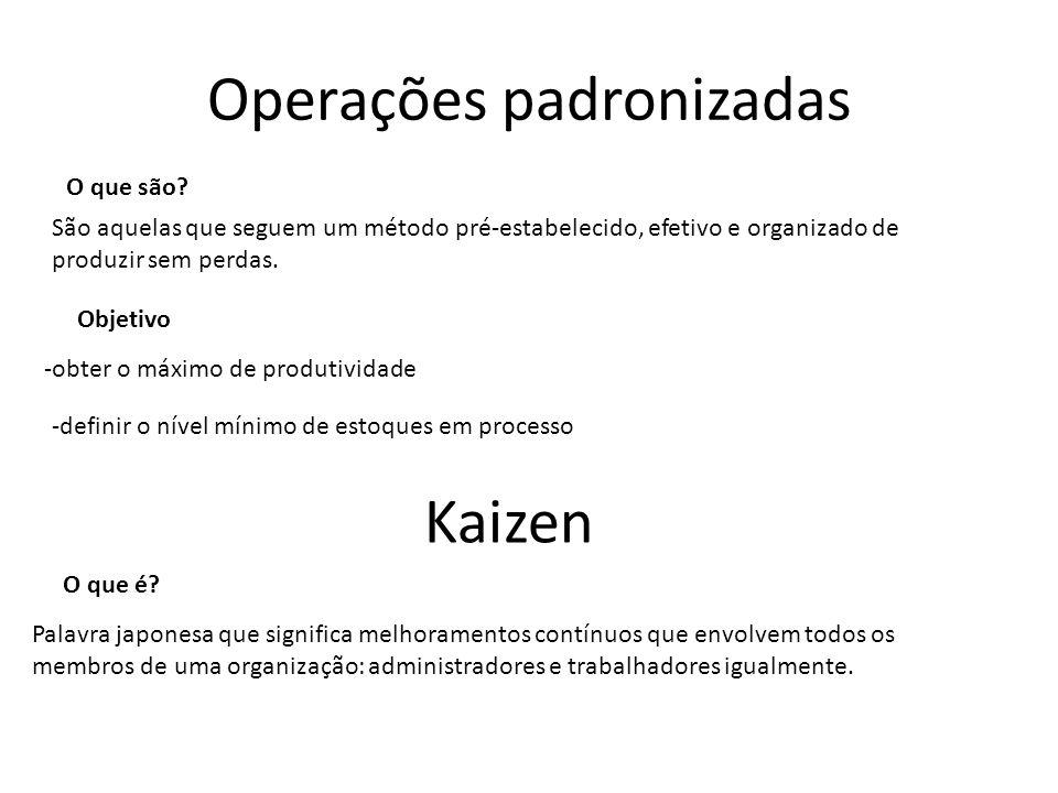 Operações padronizadas São aquelas que seguem um método pré-estabelecido, efetivo e organizado de produzir sem perdas.