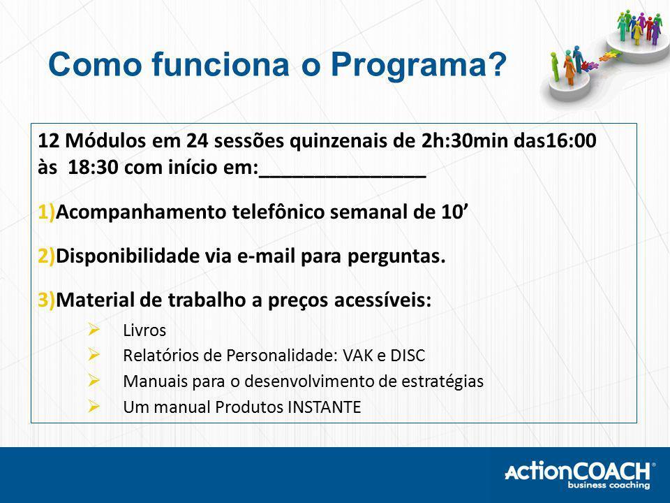 12 Módulos em 24 sessões quinzenais de 2h:30min das16:00 às 18:30 com início em:_______________ 1)Acompanhamento telefônico semanal de 10' 2)Disponibilidade via e-mail para perguntas.