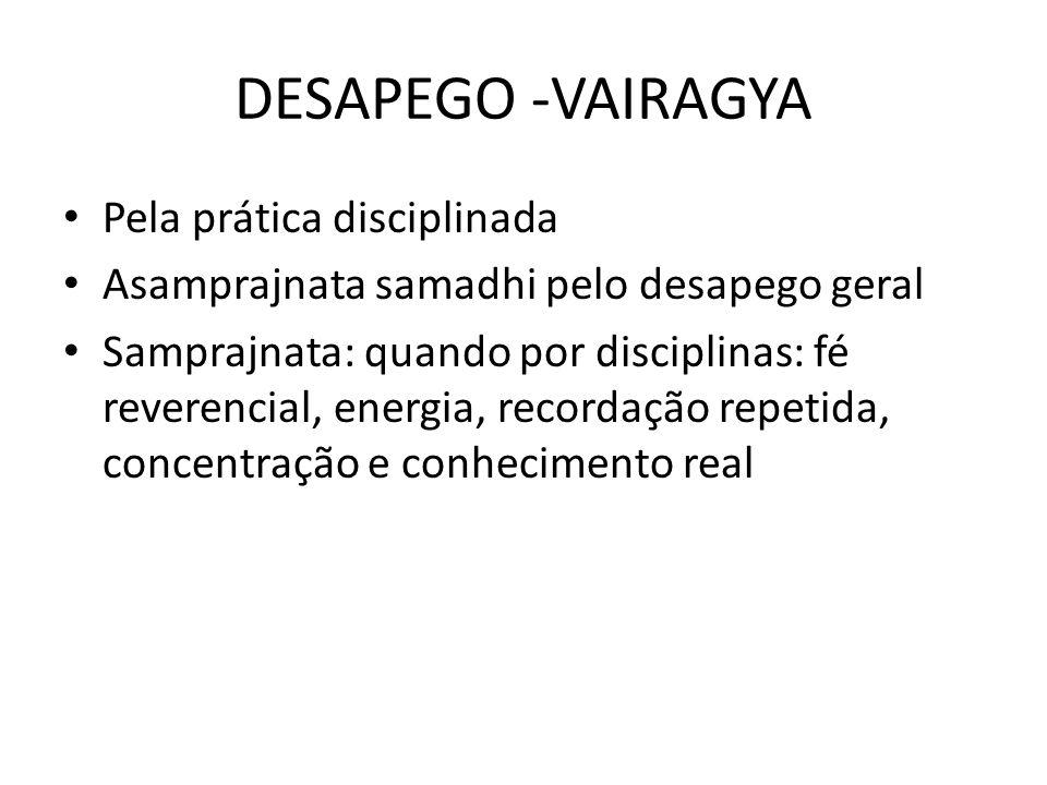 DESAPEGO -VAIRAGYA Pela prática disciplinada Asamprajnata samadhi pelo desapego geral Samprajnata: quando por disciplinas: fé reverencial, energia, re