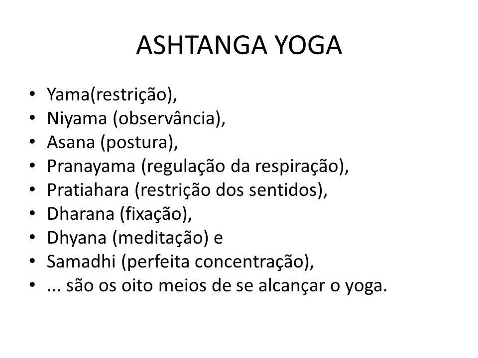 ASHTANGA YOGA Yama(restrição), Niyama (observância), Asana (postura), Pranayama (regulação da respiração), Pratiahara (restrição dos sentidos), Dharan
