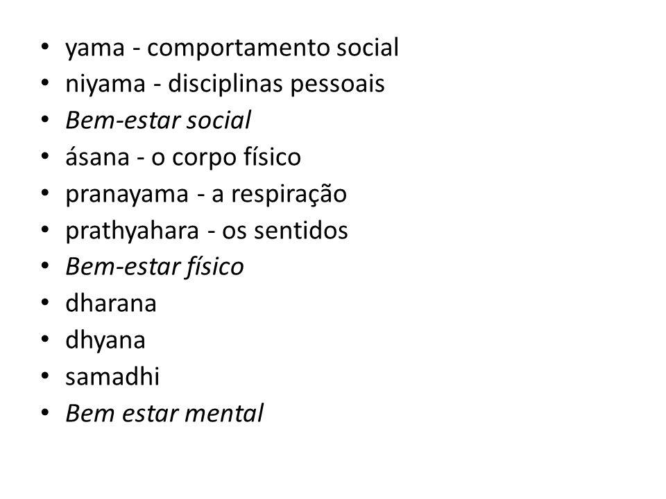 yama - comportamento social niyama - disciplinas pessoais Bem-estar social ásana - o corpo físico pranayama - a respiração prathyahara - os sentidos B