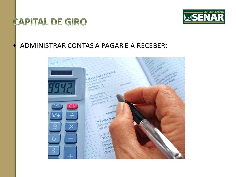 ADMINISTRAR CONTAS A PAGAR E A RECEBER;