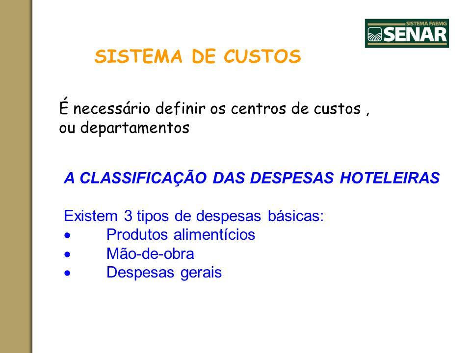 SISTEMA DE CUSTOS É necessário definir os centros de custos, ou departamentos A CLASSIFICAÇÃO DAS DESPESAS HOTELEIRAS Existem 3 tipos de despesas bási
