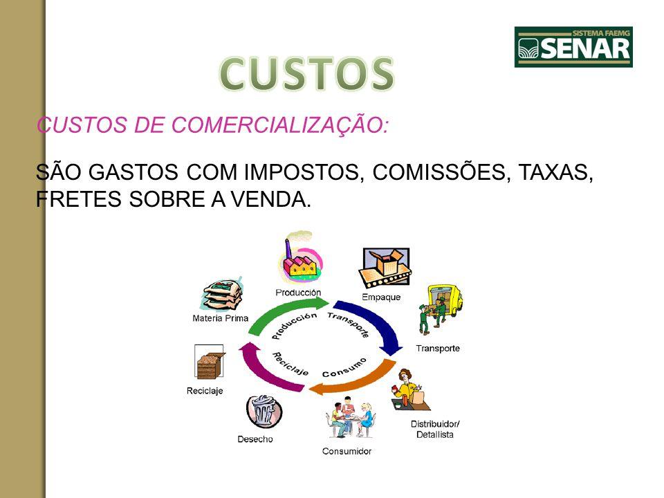 CUSTOS DE COMERCIALIZAÇÃO: SÃO GASTOS COM IMPOSTOS, COMISSÕES, TAXAS, FRETES SOBRE A VENDA.