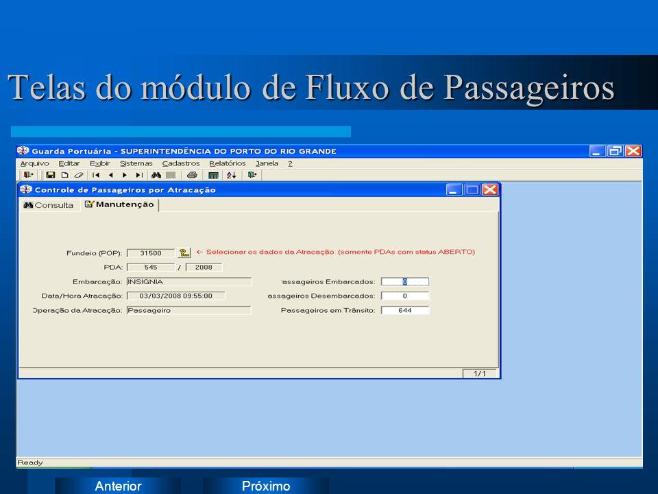 PróximoAnterior Telas do módulo de Fluxo de Passageiros