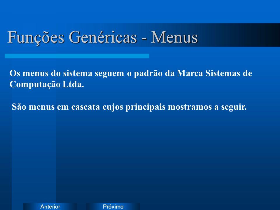 PróximoAnterior Funções Genéricas - Menus Os menus do sistema seguem o padrão da Marca Sistemas de Computação Ltda. São menus em cascata cujos princip