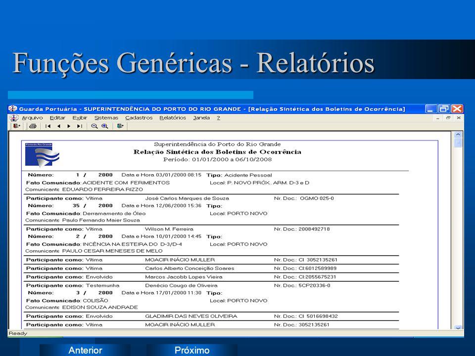 PróximoAnterior Funções Genéricas - Relatórios