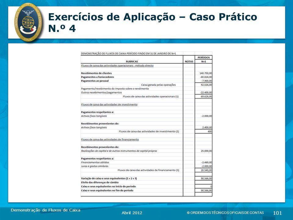 © ORDEM DOS TÉCNICOS OFICIAIS DE CONTAS 101 Exercícios de Aplicação – Caso Prático N.º 4 Demonstração de Fluxos de Caixa Abril 2012