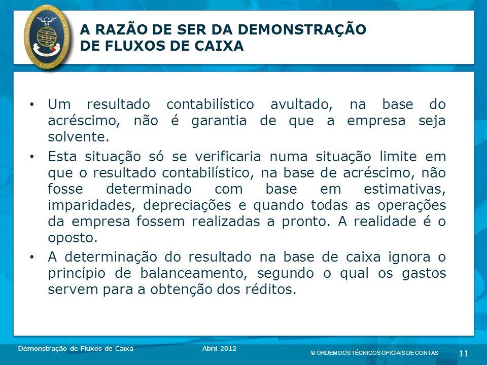 © ORDEM DOS TÉCNICOS OFICIAIS DE CONTAS 11 A RAZÃO DE SER DA DEMONSTRAÇÃO DE FLUXOS DE CAIXA Um resultado contabilístico avultado, na base do acréscimo, não é garantia de que a empresa seja solvente.