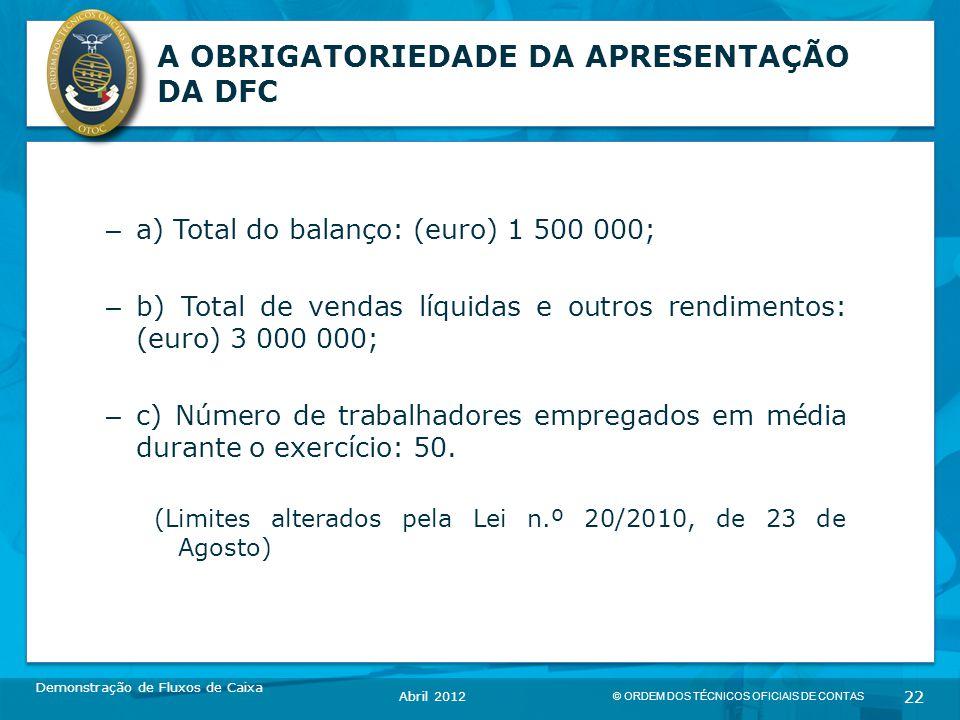 © ORDEM DOS TÉCNICOS OFICIAIS DE CONTAS 22 A OBRIGATORIEDADE DA APRESENTAÇÃO DA DFC – a) Total do balanço: (euro) 1 500 000; – b) Total de vendas líquidas e outros rendimentos: (euro) 3 000 000; – c) Número de trabalhadores empregados em média durante o exercício: 50.