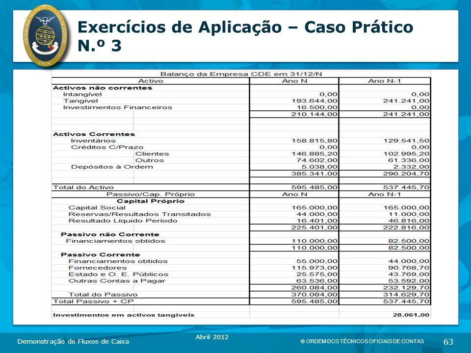 © ORDEM DOS TÉCNICOS OFICIAIS DE CONTAS 63 Exercícios de Aplicação – Caso Prático N.º 3 Demonstração de Fluxos de Caixa Abril 2012