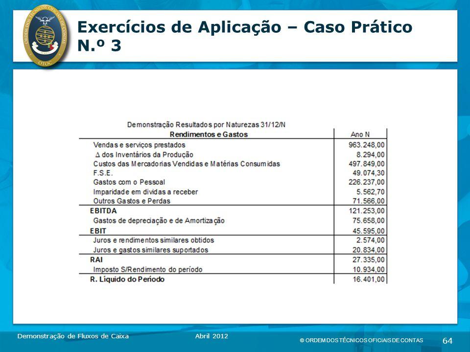 © ORDEM DOS TÉCNICOS OFICIAIS DE CONTAS 64 Exercícios de Aplicação – Caso Prático N.º 3 Demonstração de Fluxos de CaixaAbril 2012