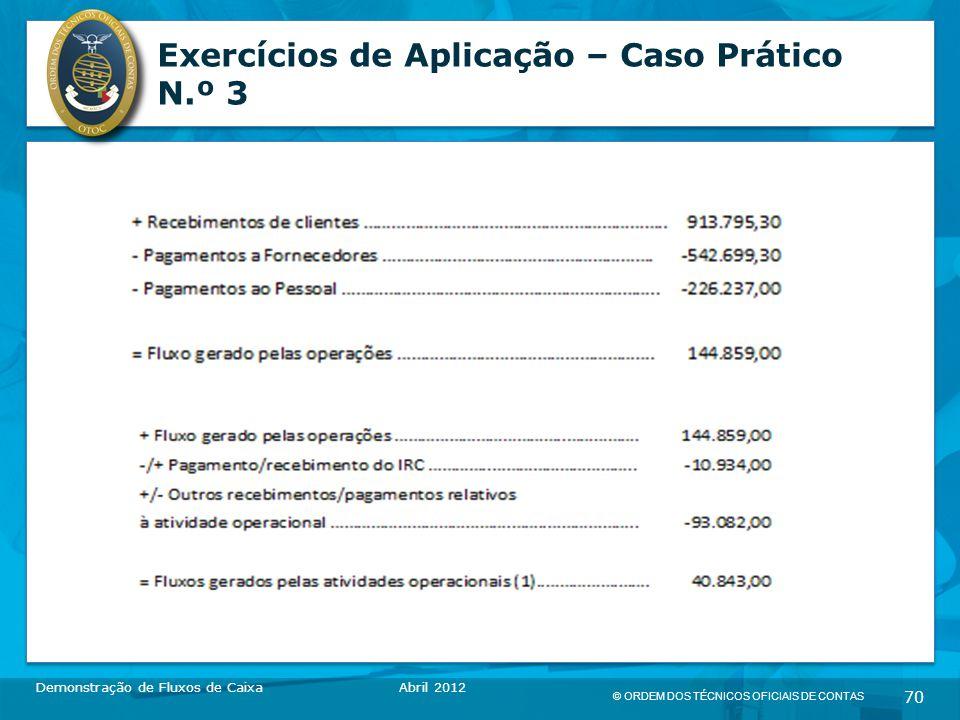 © ORDEM DOS TÉCNICOS OFICIAIS DE CONTAS 70 Exercícios de Aplicação – Caso Prático N.º 3 Demonstração de Fluxos de CaixaAbril 2012