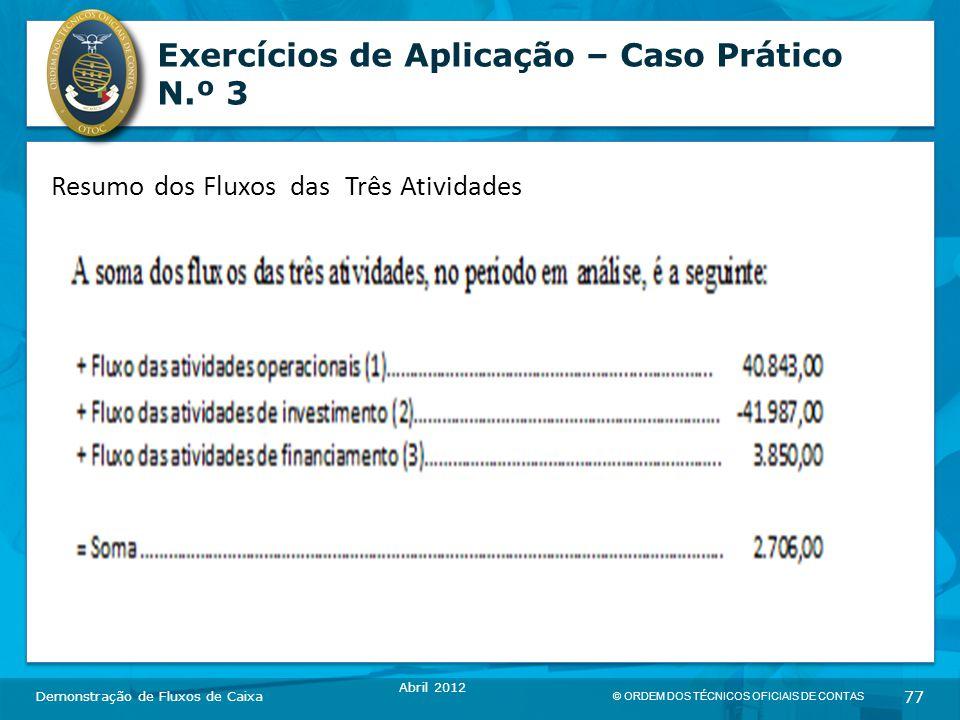 © ORDEM DOS TÉCNICOS OFICIAIS DE CONTAS 77 Exercícios de Aplicação – Caso Prático N.º 3 Demonstração de Fluxos de Caixa Abril 2012 Resumo dos Fluxos das Três Atividades