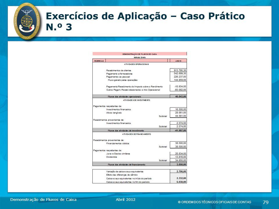 © ORDEM DOS TÉCNICOS OFICIAIS DE CONTAS 79 Exercícios de Aplicação – Caso Prático N.º 3 Demonstração de Fluxos de CaixaAbril 2012