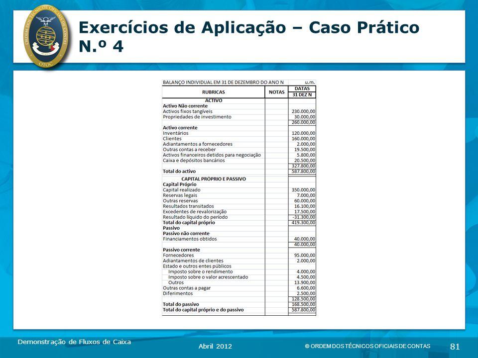 © ORDEM DOS TÉCNICOS OFICIAIS DE CONTAS 81 Exercícios de Aplicação – Caso Prático N.º 4 Demonstração de Fluxos de Caixa Abril 2012