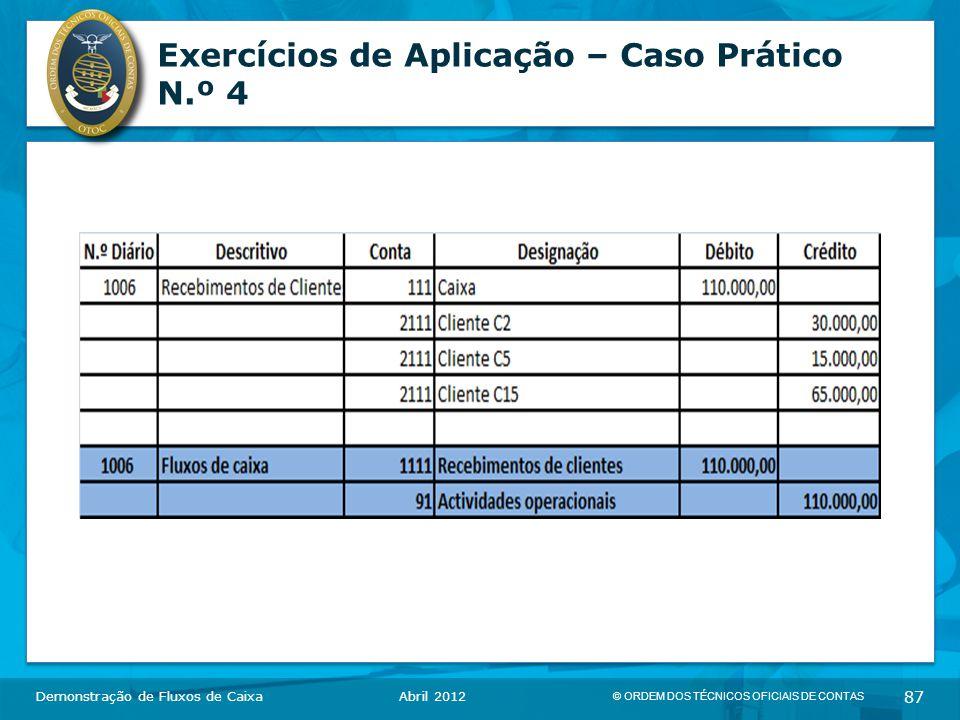 © ORDEM DOS TÉCNICOS OFICIAIS DE CONTAS 87 Exercícios de Aplicação – Caso Prático N.º 4 Demonstração de Fluxos de CaixaAbril 2012