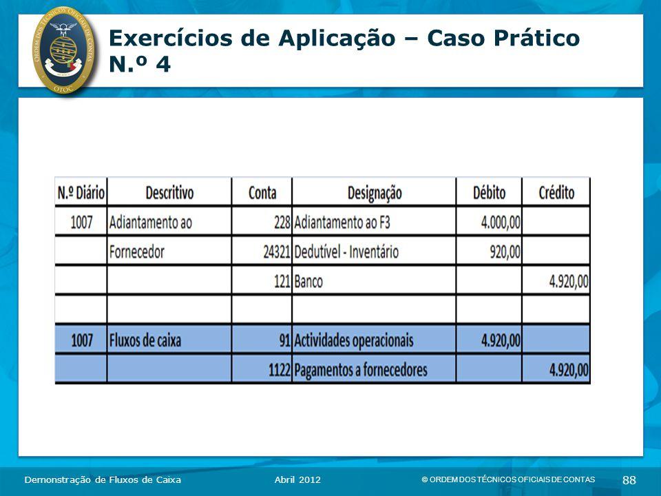 © ORDEM DOS TÉCNICOS OFICIAIS DE CONTAS 88 Exercícios de Aplicação – Caso Prático N.º 4 Demonstração de Fluxos de CaixaAbril 2012