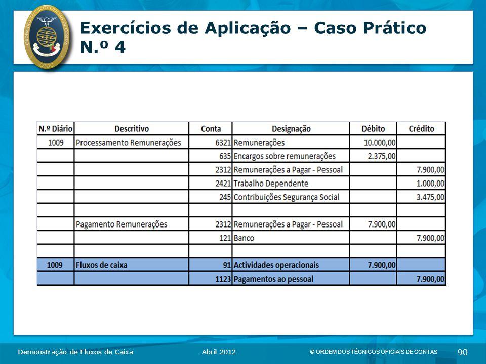 © ORDEM DOS TÉCNICOS OFICIAIS DE CONTAS 90 Exercícios de Aplicação – Caso Prático N.º 4 Demonstração de Fluxos de CaixaAbril 2012