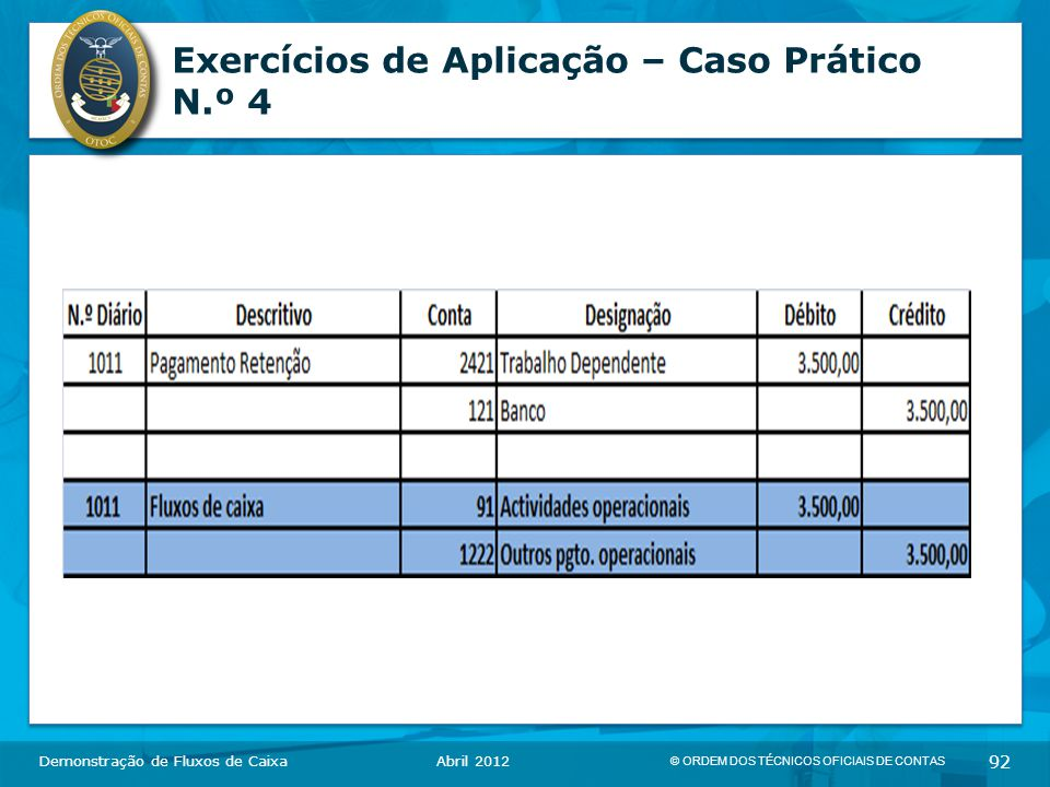 © ORDEM DOS TÉCNICOS OFICIAIS DE CONTAS 92 Exercícios de Aplicação – Caso Prático N.º 4 Demonstração de Fluxos de CaixaAbril 2012