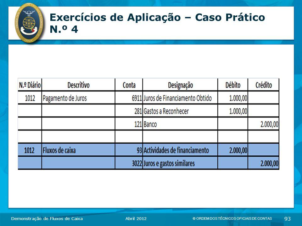 © ORDEM DOS TÉCNICOS OFICIAIS DE CONTAS 93 Exercícios de Aplicação – Caso Prático N.º 4 Demonstração de Fluxos de CaixaAbril 2012