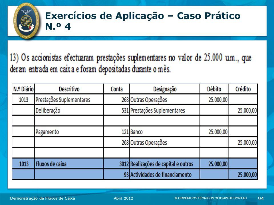 © ORDEM DOS TÉCNICOS OFICIAIS DE CONTAS 94 Exercícios de Aplicação – Caso Prático N.º 4 Demonstração de Fluxos de CaixaAbril 2012