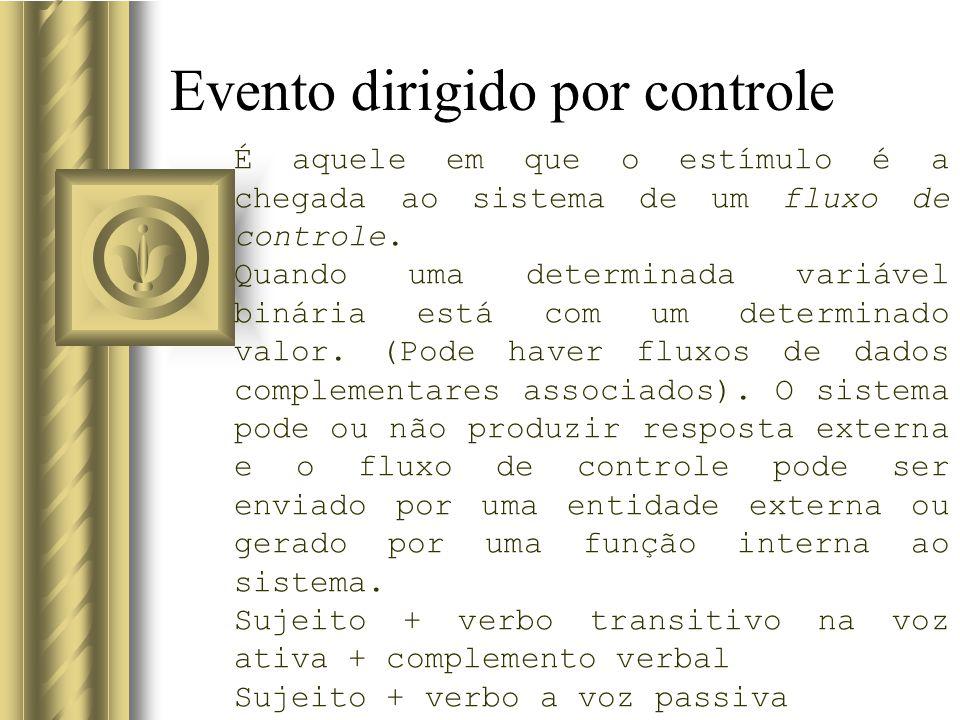 Evento dirigido por controle É aquele em que o estímulo é a chegada ao sistema de um fluxo de controle. Quando uma determinada variável binária está c