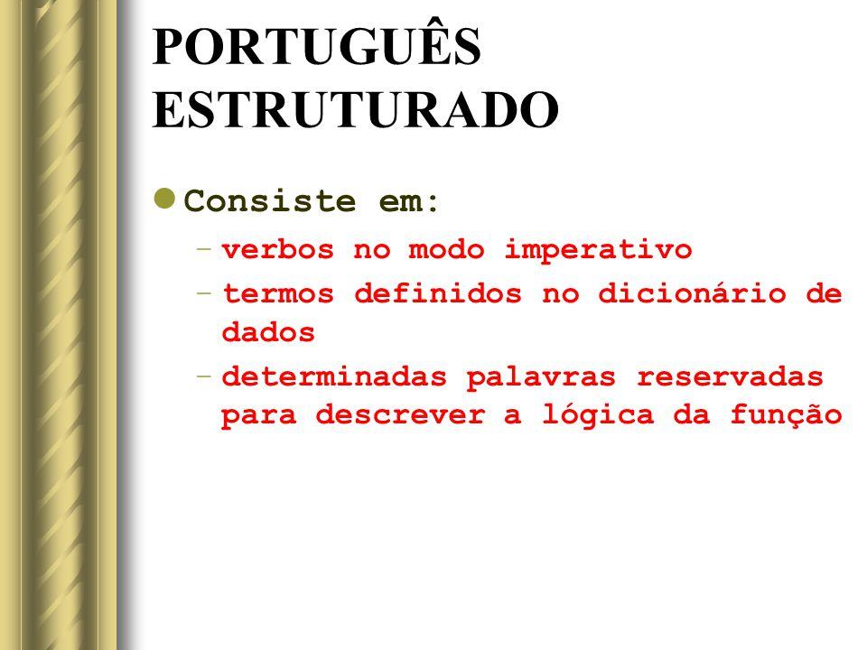 PORTUGUÊS ESTRUTURADO Consiste em: –verbos no modo imperativo –termos definidos no dicionário de dados –determinadas palavras reservadas para descreve