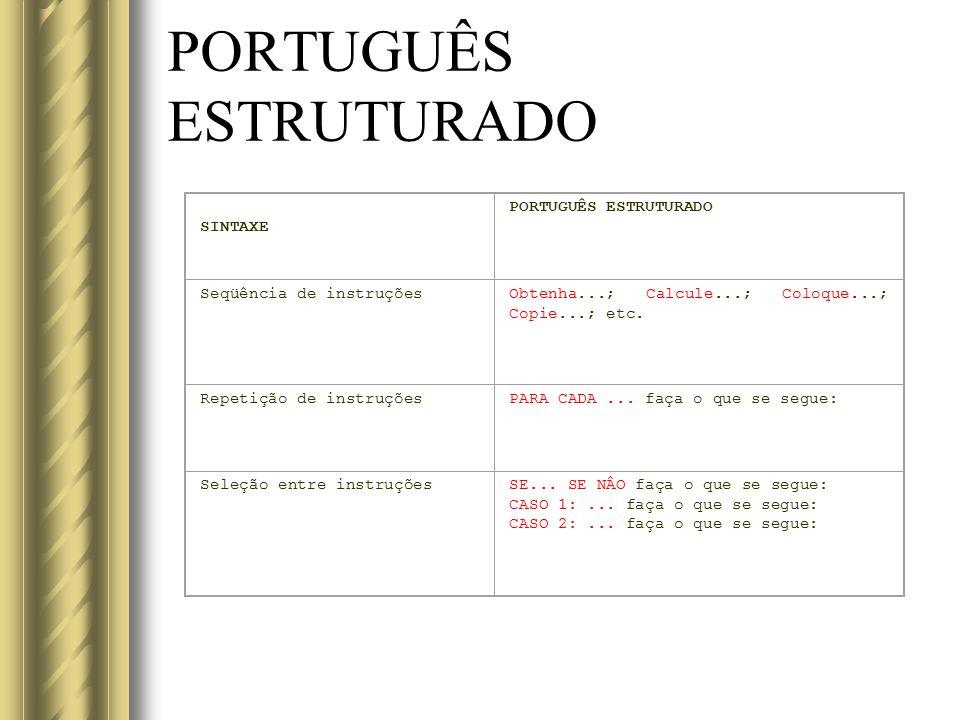 PORTUGUÊS ESTRUTURADO SINTAXE PORTUGUÊS ESTRUTURADO Seqüência de instruçõesObtenha...; Calcule...; Coloque...; Copie...; etc. Repetição de instruçõesP