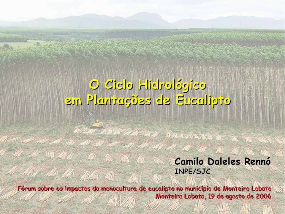 O Ciclo Hidrológico em Plantações de Eucalipto O Ciclo Hidrológico em Plantações de Eucalipto Fórum sobre os impactos da monocultura de eucalipto no m