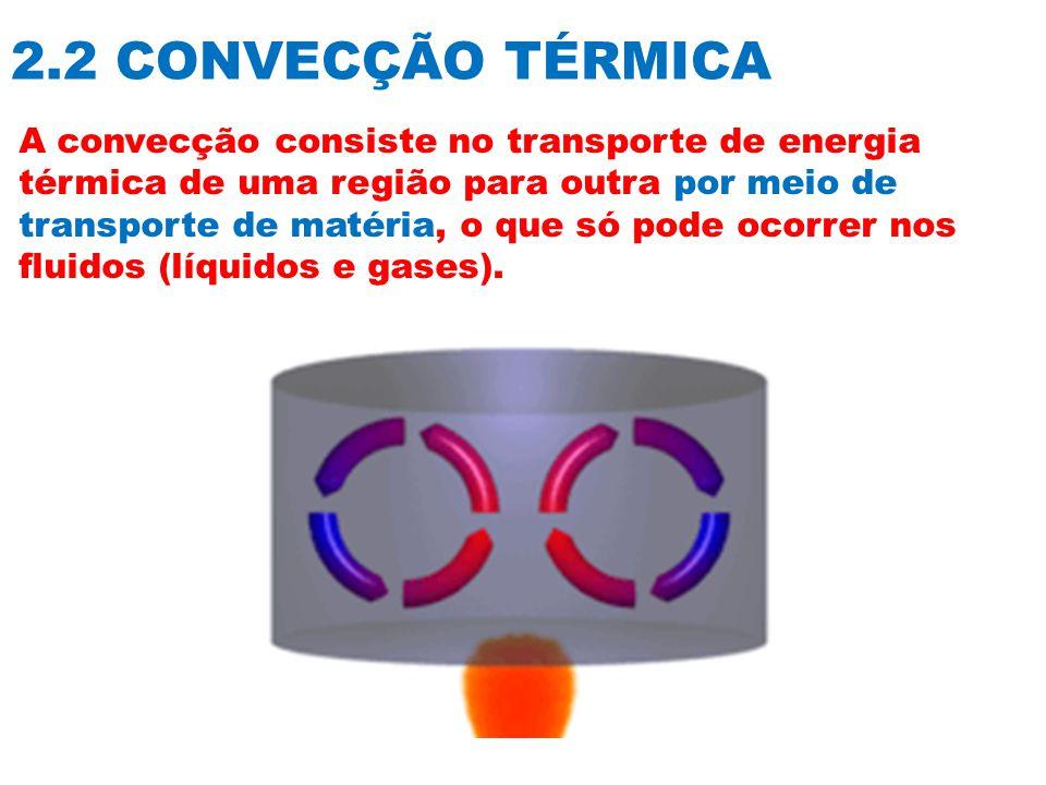2.2 CONVECÇÃO TÉRMICA A convecção consiste no transporte de energia térmica de uma região para outra por meio de transporte de matéria, o que só pode