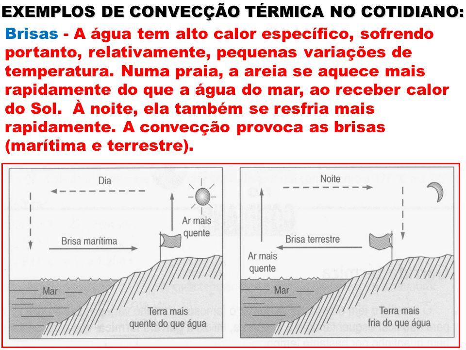 EXEMPLOS DE CONVECÇÃO TÉRMICA NO COTIDIANO: Brisas - A água tem alto calor específico, sofrendo portanto, relativamente, pequenas variações de tempera