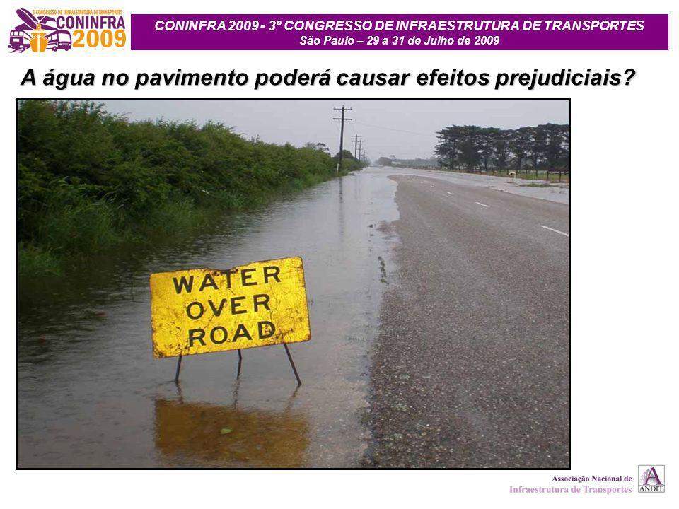 CONINFRA 2009 - 3º CONGRESSO DE INFRAESTRUTURA DE TRANSPORTES São Paulo – 29 a 31 de Julho de 2009 A água no pavimento poderá causar efeitos prejudici
